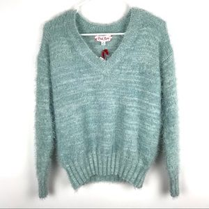 Pink Rose XS Pull Over Fuzzy V Neck Sweater Soft